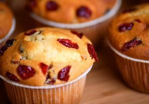 Pełnoziarniste muffinki z żurawiną