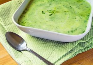 Zupa ze świeżego szpinaku i zapiekanych ziemniaków