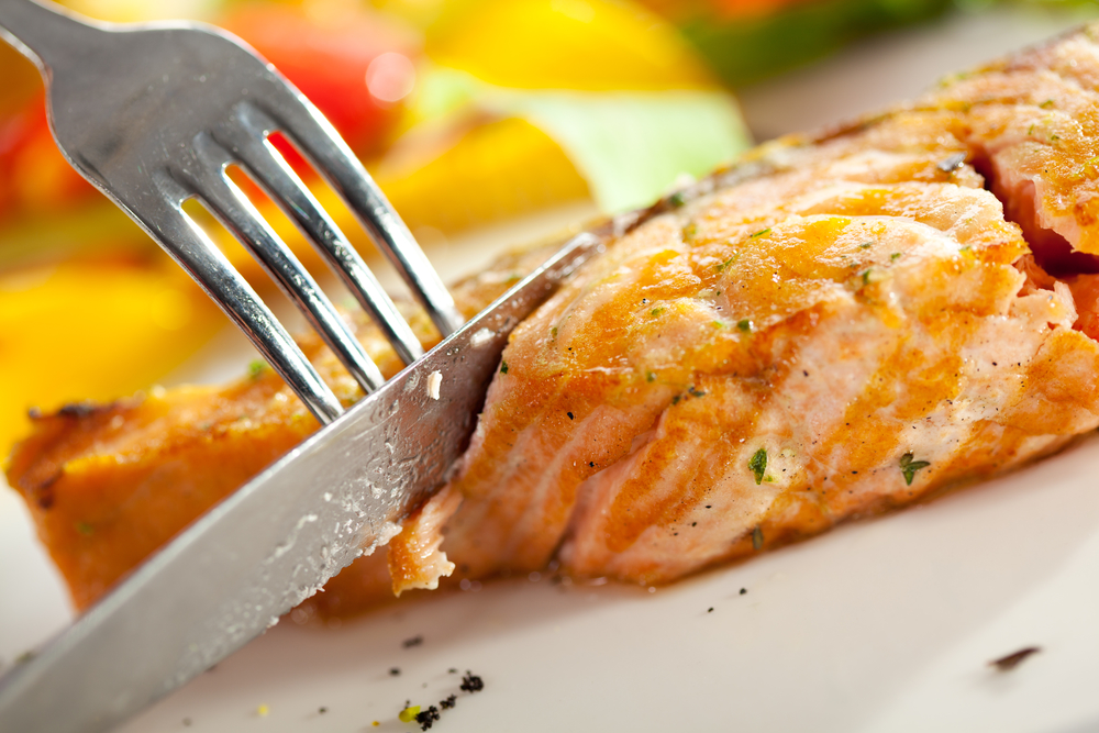Salmon Steak with Corn and Green Asparagus