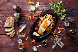 Ryba w ziołach pieczona z gruszką