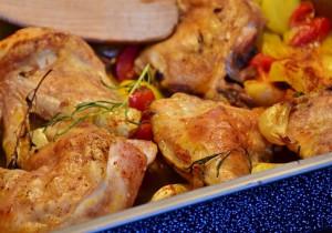 Kurczak z ziemniakami i szpinakiem